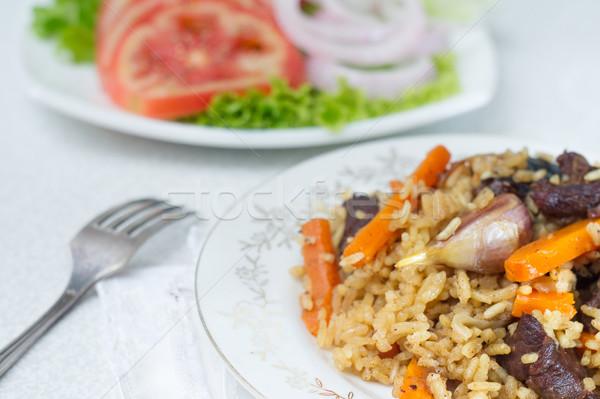риса говядины служивший пластина овощей Сток-фото © oei1