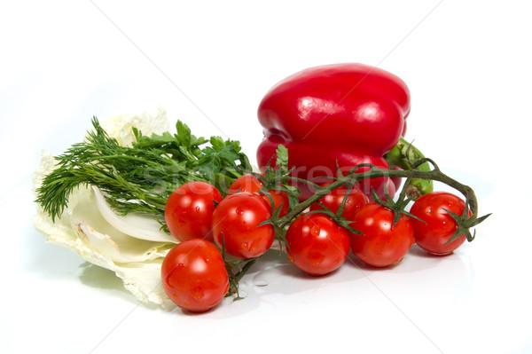 Сток-фото: различный · свежие · овощи · белый · изолированный · зеленый · красный