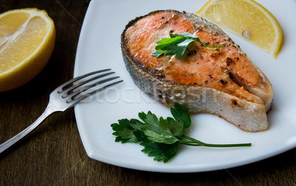гриль лосося стейк квадратный пластина белый Сток-фото © oei1