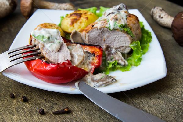 свинина стейк картофеля гриб соус Сток-фото © oei1