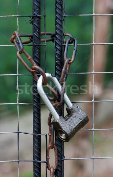 Сток-фото: замок · железной · ворот · цепь · закрыто · металл