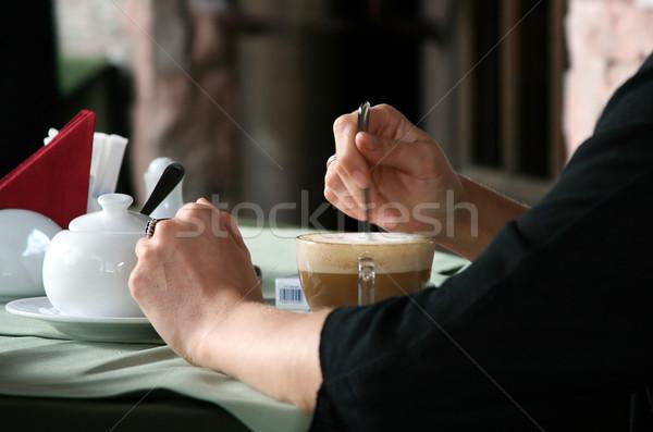 кофе ресторан женщину напитки кафе только Сток-фото © offscreen