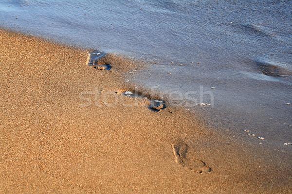 Impronta sabbia acqua blu piedi tropicali Foto d'archivio © offscreen