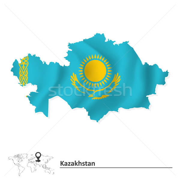 Map of Kazakhstan with flag Stock photo © ojal