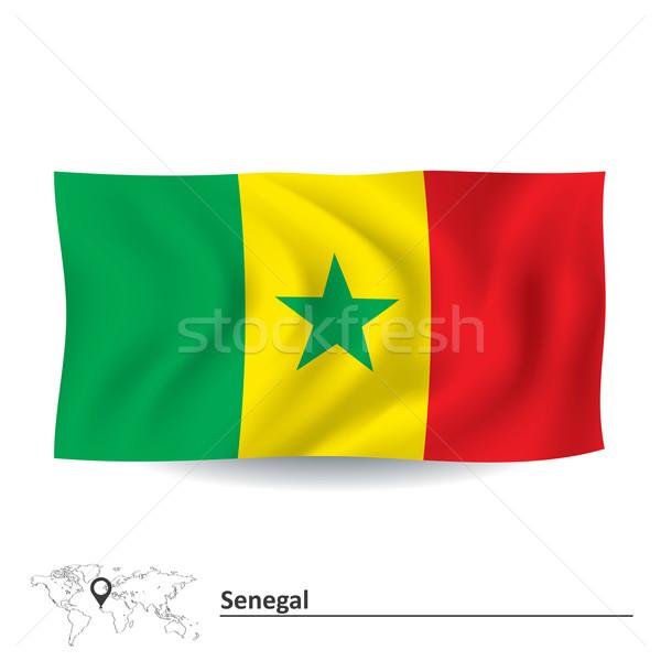Zászló Szenegál textúra zöld csillag Afrika Stock fotó © ojal