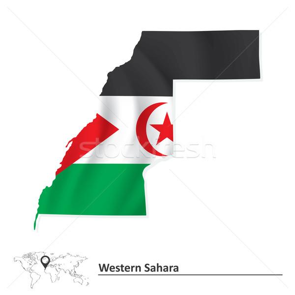 Kaart westerse sahara vlag maan star Stockfoto © ojal