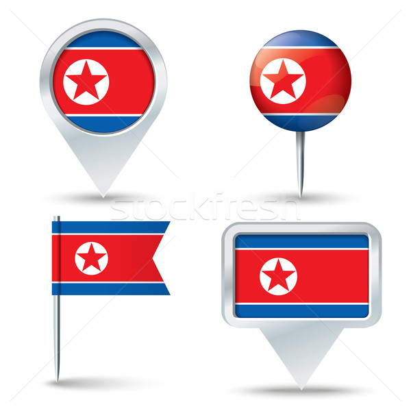 Map pins with flag of North Korea Stock photo © ojal