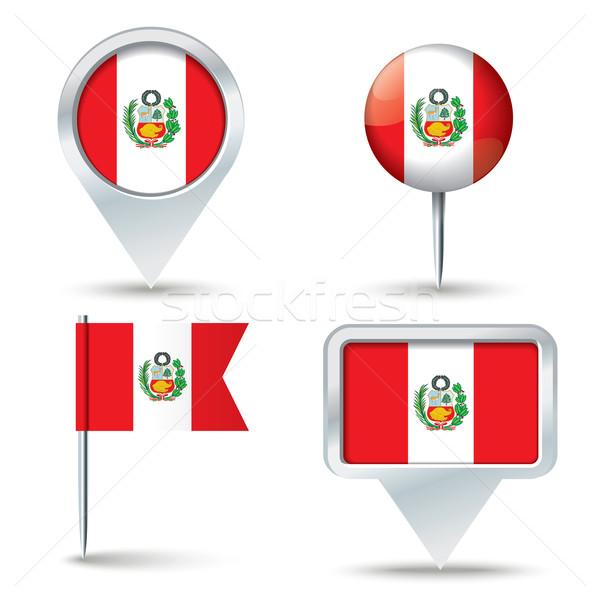 Kaart vlag Peru business weg witte Stockfoto © ojal