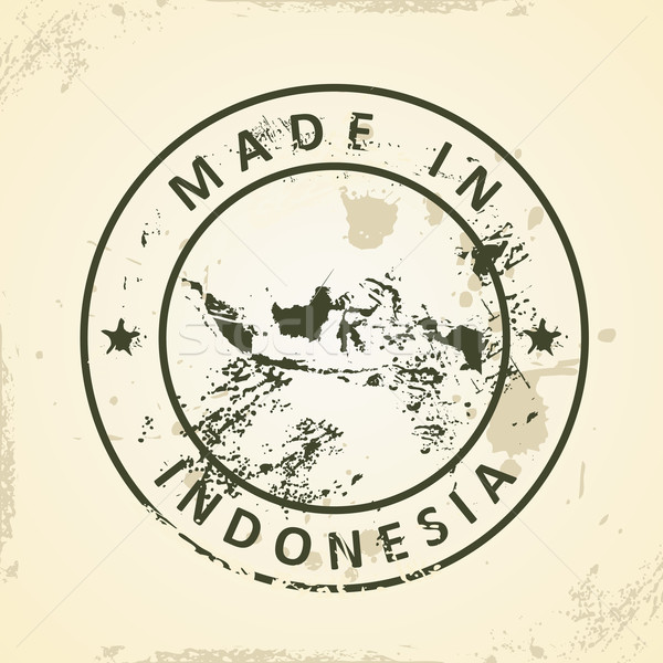 Stamp with map of Indonesia Stock photo © ojal