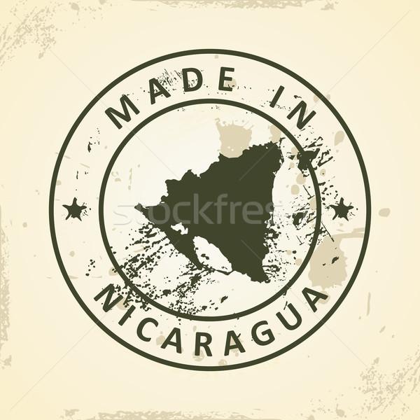 Bélyeg térkép Nicaragua grunge világ háttér Stock fotó © ojal