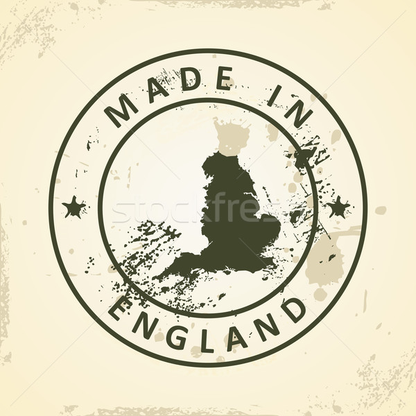 Stamp with map of England Stock photo © ojal