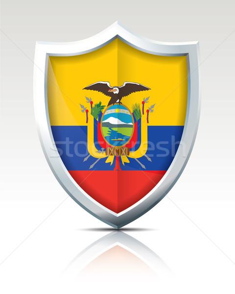 Schild vlag Ecuador kaart wereld achtergrond Stockfoto © ojal