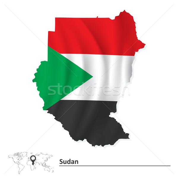Pokaż Sudan banderą tekstury podpisania zielone Zdjęcia stock © ojal