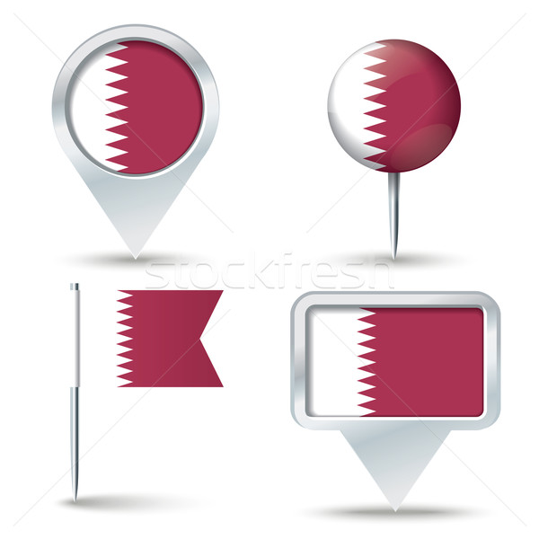 Map pins with flag of Qatar Stock photo © ojal