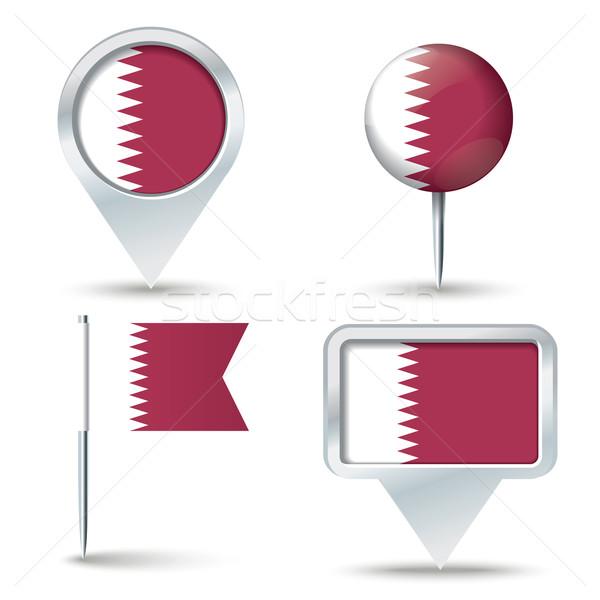 Pokaż banderą Katar działalności drogowego biały Zdjęcia stock © ojal
