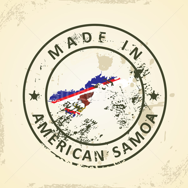 Stamp with map flag of American Samoa Stock photo © ojal