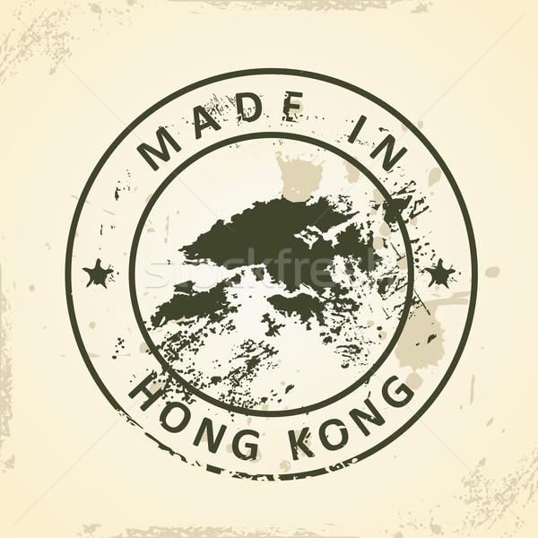 Carimbo mapa Hong Kong grunge fundo silhueta Foto stock © ojal