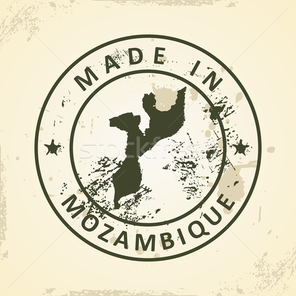 Stamp with map of Mozambique Stock photo © ojal