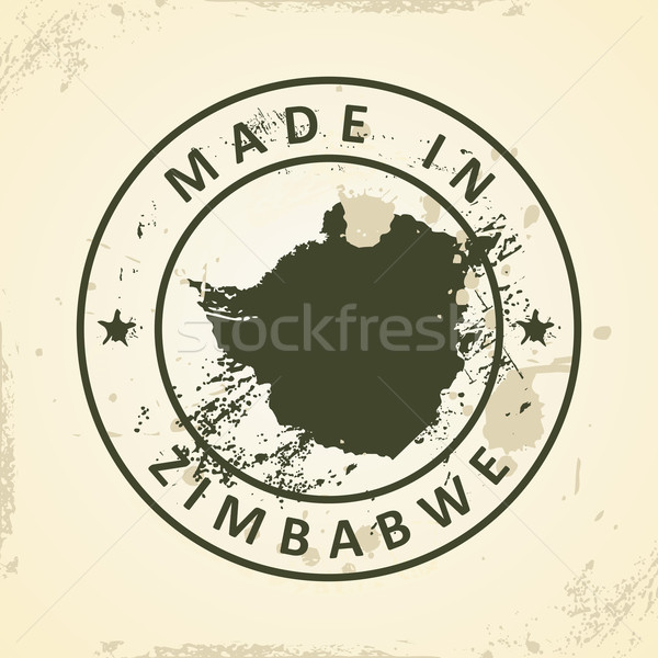 Stamp with map of Zimbabwe Stock photo © ojal