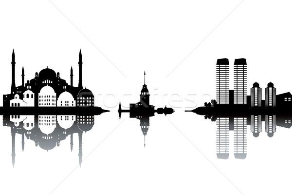 Isztambul sziluett feketefehér üzlet textúra város Stock fotó © ojal