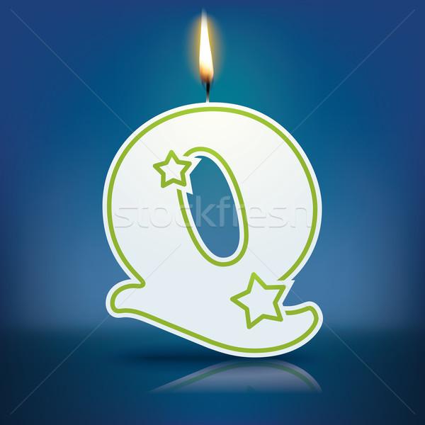 свечу буква q пламени прибыль на акцию 10 счастливым Сток-фото © ojal