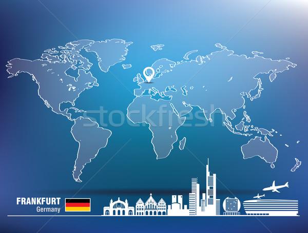 Kaart pin Frankfurt skyline gebouw stad Stockfoto © ojal