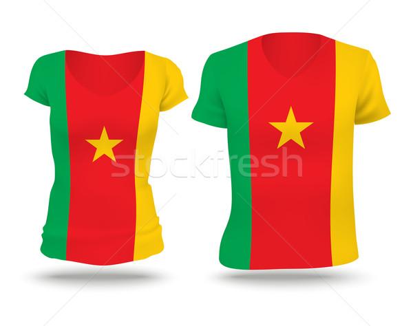 Banderą shirt projektu Kamerun kobieta człowiek Zdjęcia stock © ojal