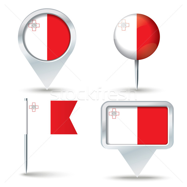 Map pins with flag of Malta Stock photo © ojal