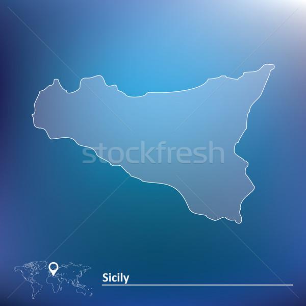 Mapa sicília silhueta país toscana distintivo Foto stock © ojal