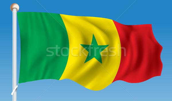 Banderą Senegal tekstury Pokaż podpisania zielone Zdjęcia stock © ojal