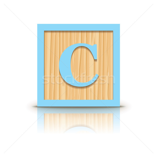 Vector letter C wooden alphabet block Stock photo © ojal