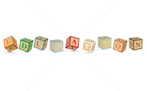 Szó oktatás írott ábécé kockák üzlet Stock fotó © ojal