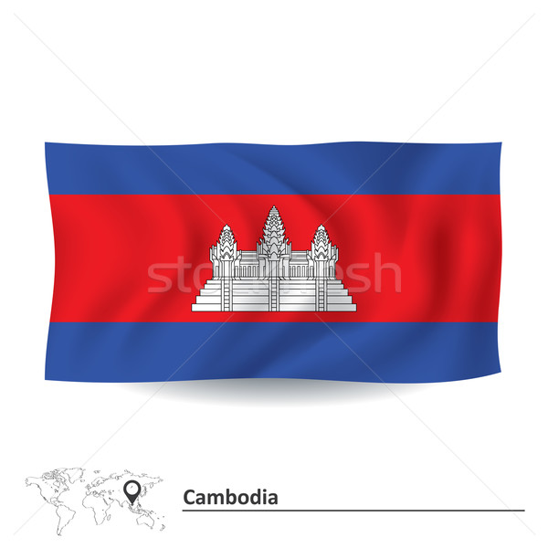 Bandiera Cambogia città abstract design rosso Foto d'archivio © ojal