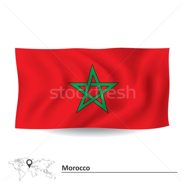 Stock fotó: Zászló · Marokkó · térkép · utazás · csillag · piros