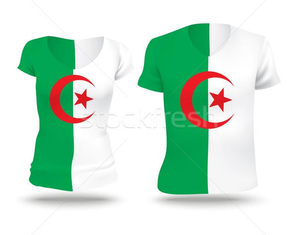 Pavillon shirt design Algérie femme homme Photo stock © ojal