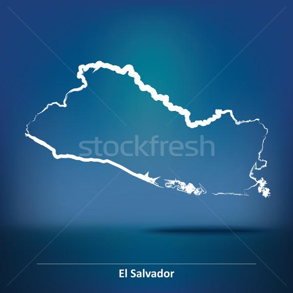 Rabisco mapa El Salvador textura projeto arte Foto stock © ojal