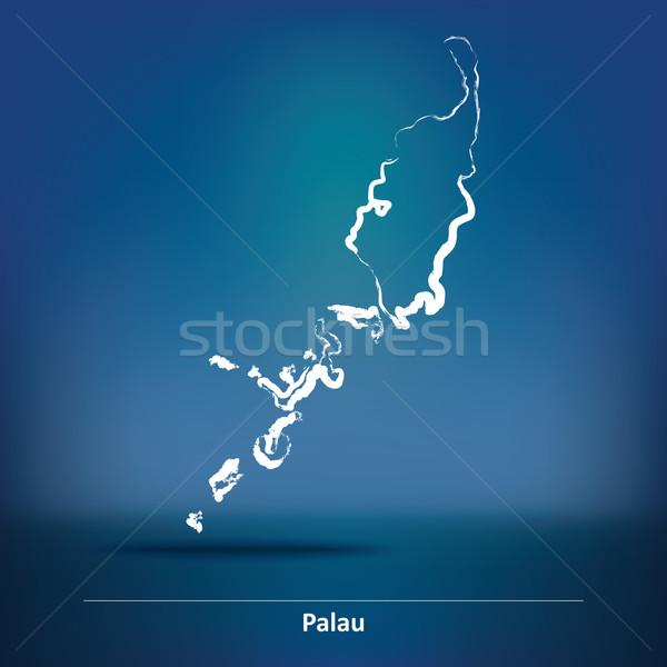 いたずら書き 地図 パラオ テクスチャ 旅行 シルエット ストックフォト © ojal