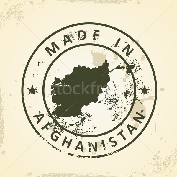 Damga harita Afganistan grunge imzalamak renk Stok fotoğraf © ojal