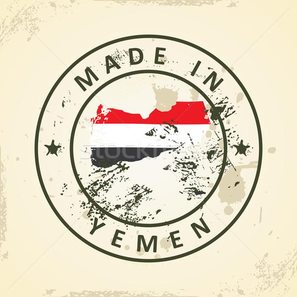 штампа карта флаг Йемен Гранж текстуры Сток-фото © ojal