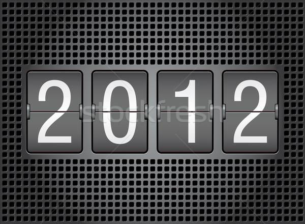 2012 nieuwjaar mechanisch scorebord achtergrond Stockfoto © ojal