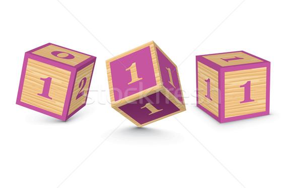 Stock photo: Vector number 1 wooden alphabet blocks