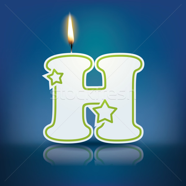 Candle letter H with flame Stock photo © ojal