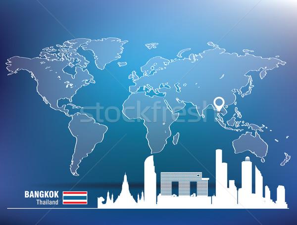 Kaart pin Bangkok skyline gebouw stad Stockfoto © ojal