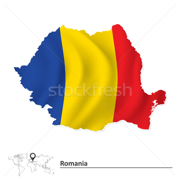 Map of Romania with flag Stock photo © ojal