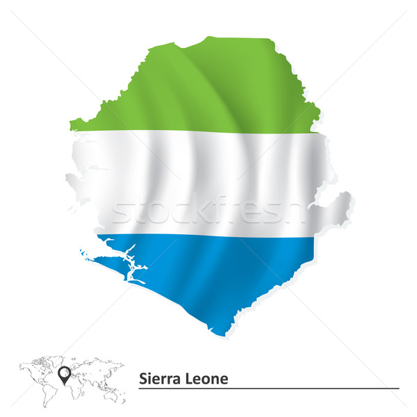 Map of Sierra Leone with flag Stock photo © ojal
