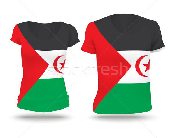 Vlag shirt ontwerp westerse sahara vrouw Stockfoto © ojal
