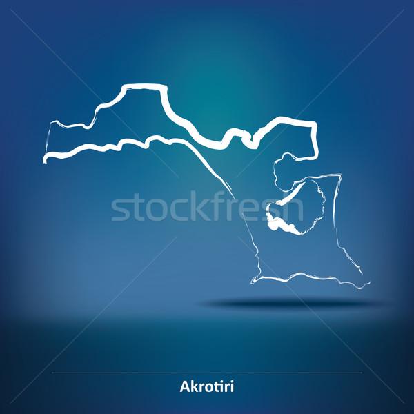 Doodle Map of Akrotiri Stock photo © ojal