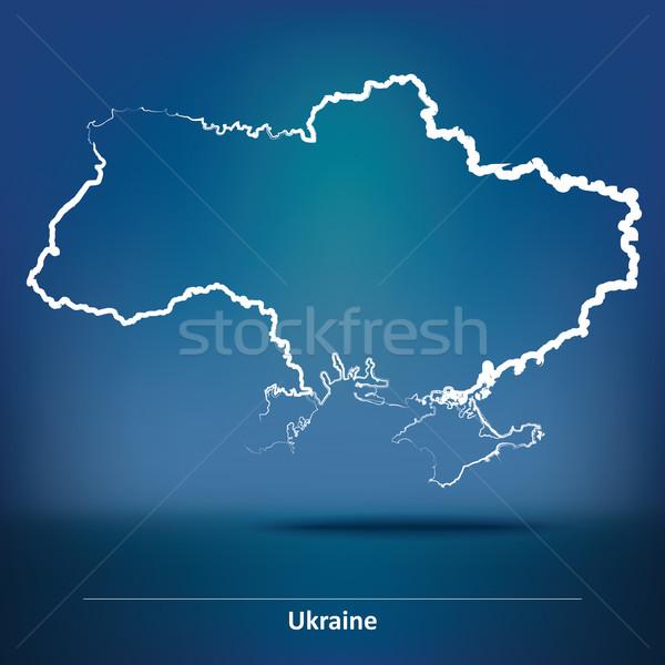 Firka térkép Ukrajna terv művészet kék Stock fotó © ojal