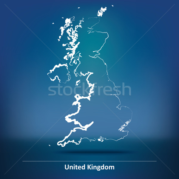 Doodle mappa Regno Unito blu viaggio vento Foto d'archivio © ojal