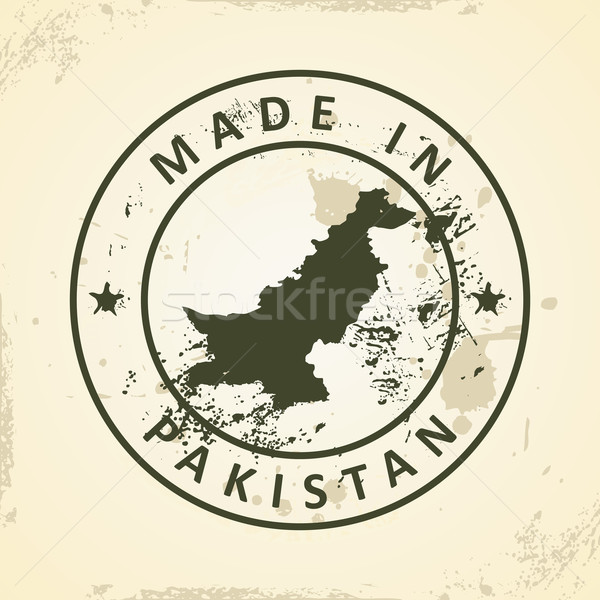 Stamp with map of Pakistan Stock photo © ojal